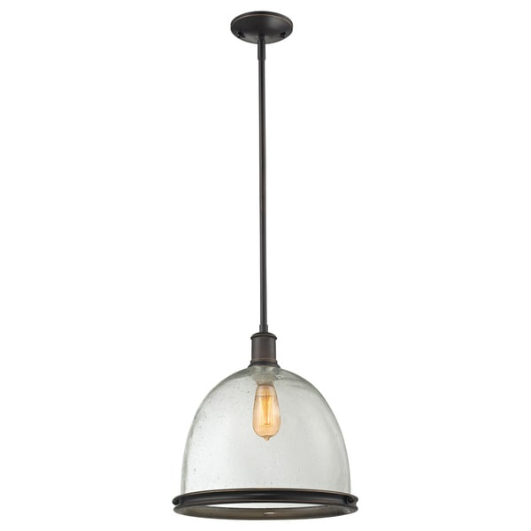 lite mason 1 light olde bronze and seeded glass indoor pendant. Black Bedroom Furniture Sets. Home Design Ideas