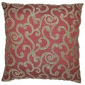 Lowell Square Red Scrolls Decorative Feather Filled Throw Pillow