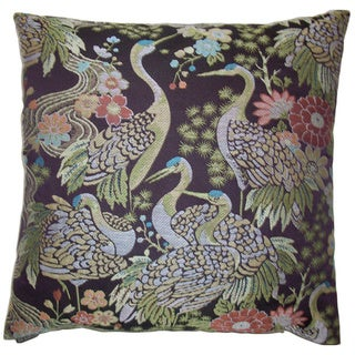 Crane 24-inch Square Decorative Feather Filled Throw Pillow