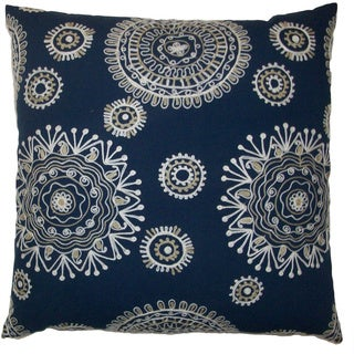 Tashkent 24-inch Blue Decorative Feather Filled Throw Pillow