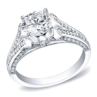 Auriya 14k White Gold 1 1/4ct TDW Certified Round Diamond Bridal Ring (H-I, SI1-SI2)