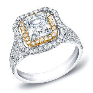 Auriya 14k Gold 1 1/2ct TDW Certified Princess Cut Diamond Ring (H-I, SI1-SI2)