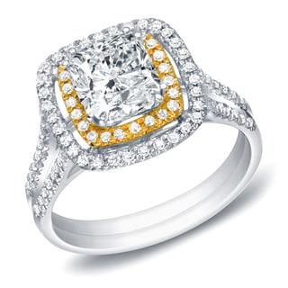 Auriya 14k Gold 1 1/4ct TDW Certified Cushion Cut Diamond Ring (H-I, SI1-SI2)