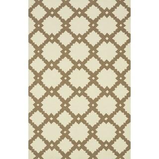 Hand-hooked Indoor/ Outdoor Capri Ivory/ Taupe Rug (7'6 x 9'6)