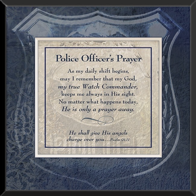 Sagebrush Fine Art Ct Art Police Officers Prayer Wood Wall Plaque Blue Size Mini