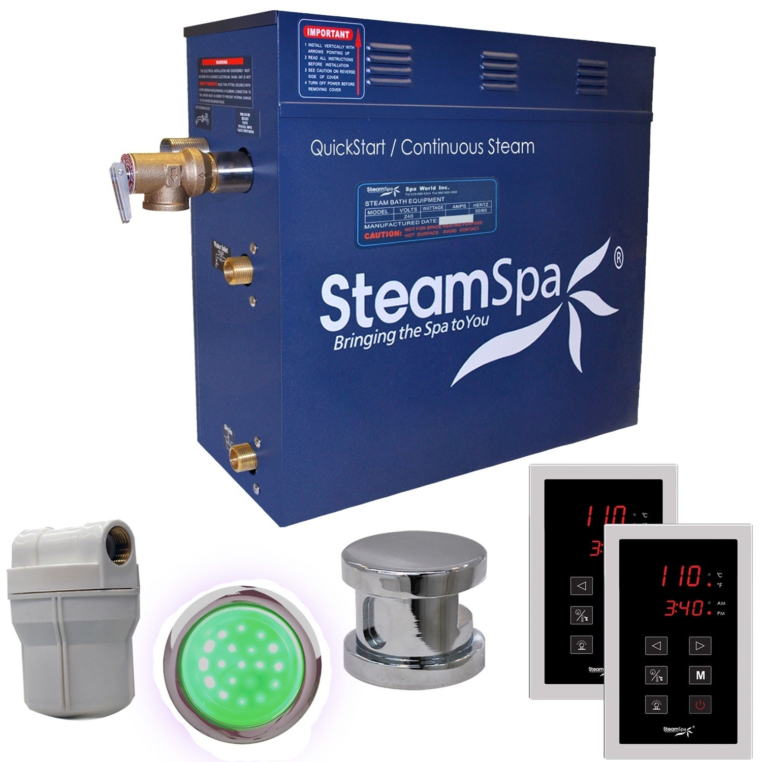 Overstock.com SteamSpa Royal 4.5kw Touch Pad Steam Generator Package in Chrome at Sears.com