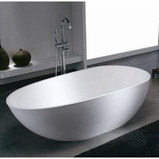Mountain Home Dini 34x67-inch Man Made Stone Soaking Freestanding Bathtub