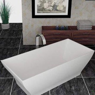 Mountain Home Point 32x71-inch Man Made Stone Soaking Freestanding Bathtub