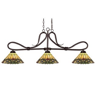 'Cobra' Bronze/ Tiffany Glass Shades 3-light Billiard/ Island Fixture