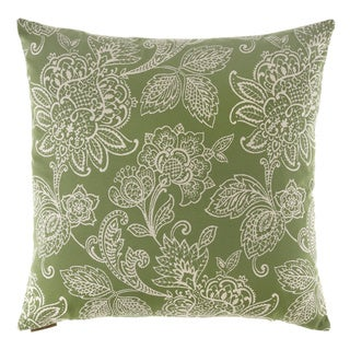 Belinda Green Floral Decorative Feather Filled 24-inch Throw Pillow