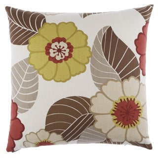 Flower Power Chartreus Decorative Feather Filled 24-inch Throw Pillow