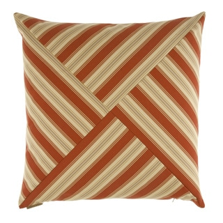 Red Ottoman Stripe Decorative 24-inch Down Filled Throw Pillow