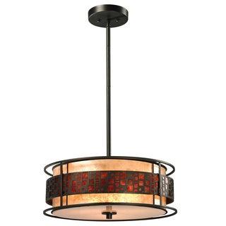 Oak Park 3-light Java Bronze/ Mica Pendant
