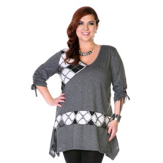 Women's Plus Size Grey Patchwork Argyle Sweater