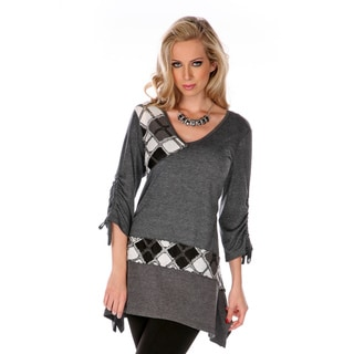 Firmiana Women's Grey Patchwork Argyle Sweater