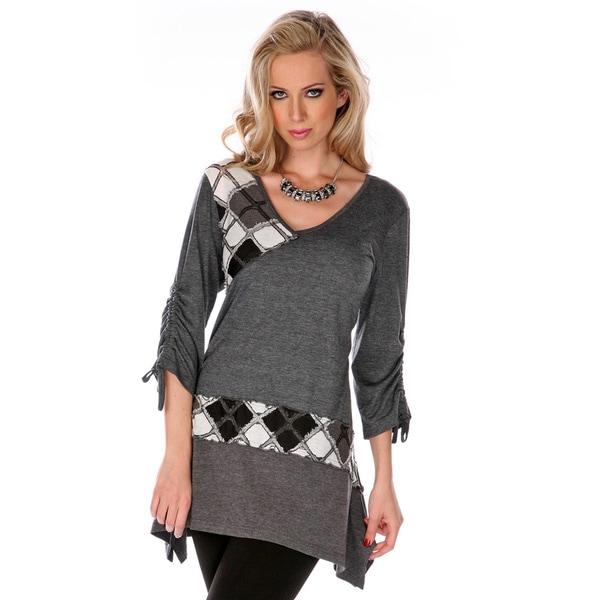 Firmiana Women's Grey Patchwork Argyle Sweater