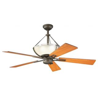 Transitional 4-light Olde Bronze Ceiling Fan with Light Kit