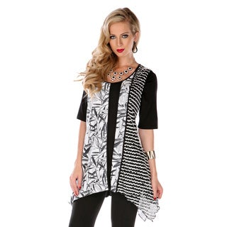 Women's Black/ White Mixed Print Trapeze Tunic