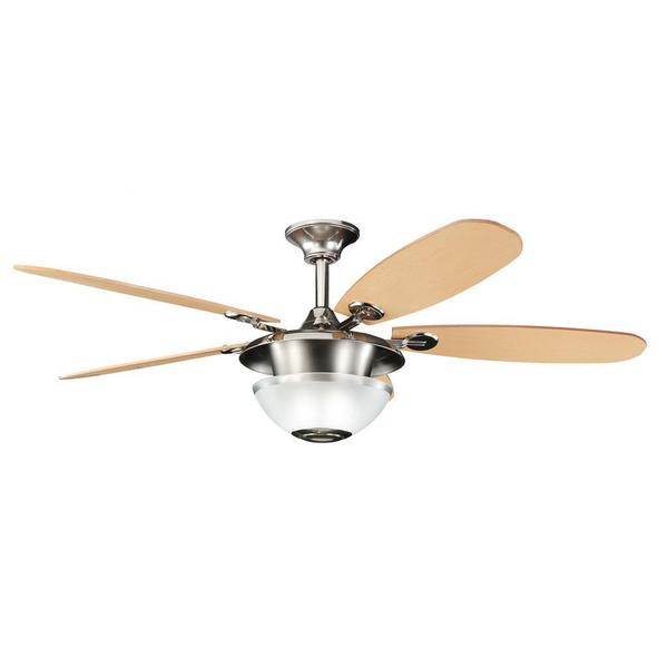Polished Nickel/ Maple 3-light Ceiling Fan