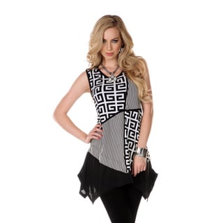 Women's Black/ White Mixed Patchwork Print Sleeveless Tunic