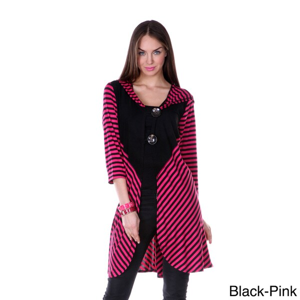 Firmiana Women's Striped Long Double-button Tunic
