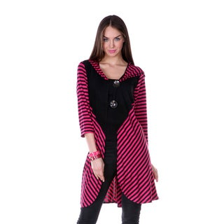Women's Striped Long Double-button Tunic