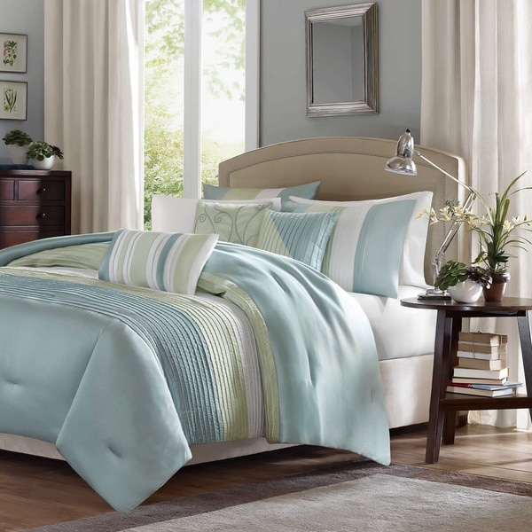 Madison Park Chester Green Blue 6 Piece Duvet Cover Set