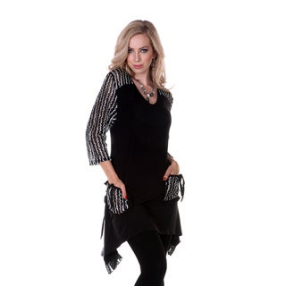 Women's Black and White Ruffled Accent Tunic