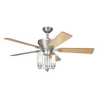 Transitional Brushed Nickel Ceiling Fan and Light Kit