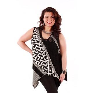 Women's Plus Size Black and White Mixed Print Tank