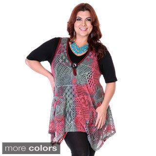 Firmiana Women's Plus Size Trapeze Hem Knit Vest Top
