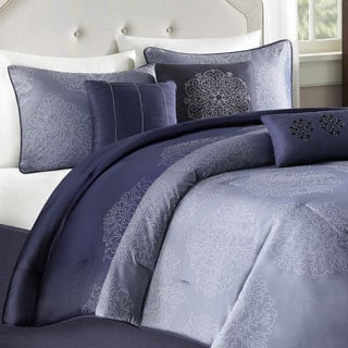 Madison Park 'Griffith' Blue Jacquard 7-piece Comforter Set
