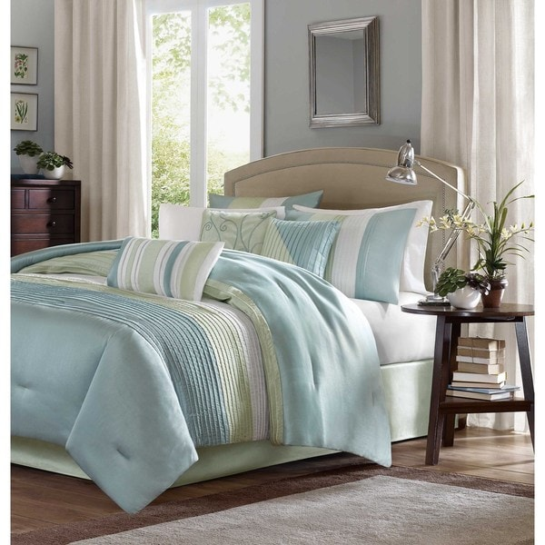 Madison Park Chester Green/Blue 7-piece Comforter Set (As Is Item)