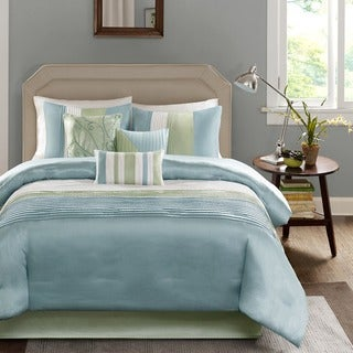 Madison Park 'Chester' Green/Blue 7-piece Comforter Set