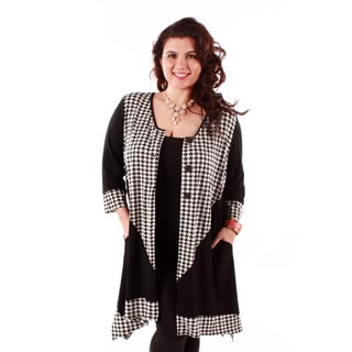 Women's Plus Size Houndstooth Detail Button-front Sweater