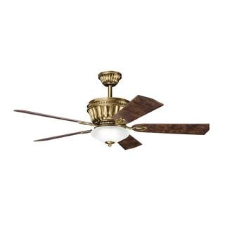 Transitional Burnished Antique Brass Ceiling Fan and Light Kit