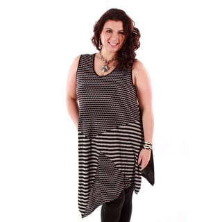 Women's Plus Size Black/ Grey Multi-stripes Sleeveless Tunic