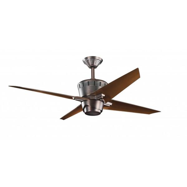 Contemporary Oil-brushed Bronze Ceiling Fan and Light Kit