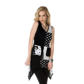 Women's Black/ White Mixed Patchwork Tunic