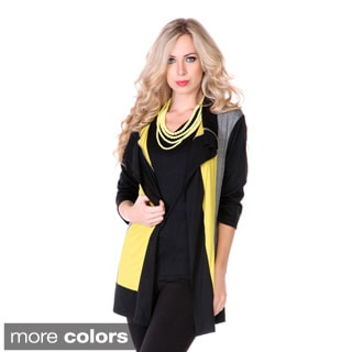 Women's Colorblocked Open Cardigan