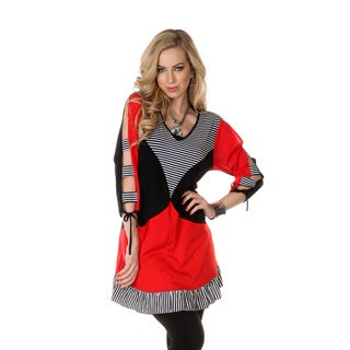 Women's Black/ Red Slit-sleeve Mixed Print Top