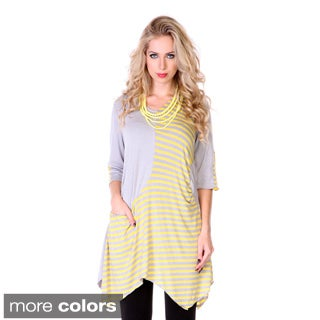 Women's Striped and Solid 3/4-sleeve Top