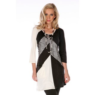 Women's Black and White Mixed Print 3/4-sleeve Tunic