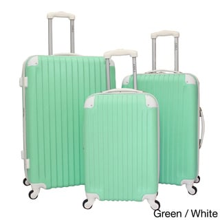 World Traveler Designer Two-tone Expandable 3-piece Hardside Spinner Luggage Set