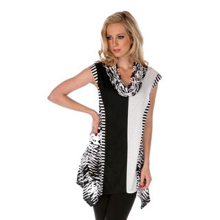 Women's Black and White Mixed Print Cowl Neck Top