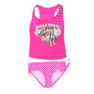 Girls DC Comics Pink Tankini Swimwear Set