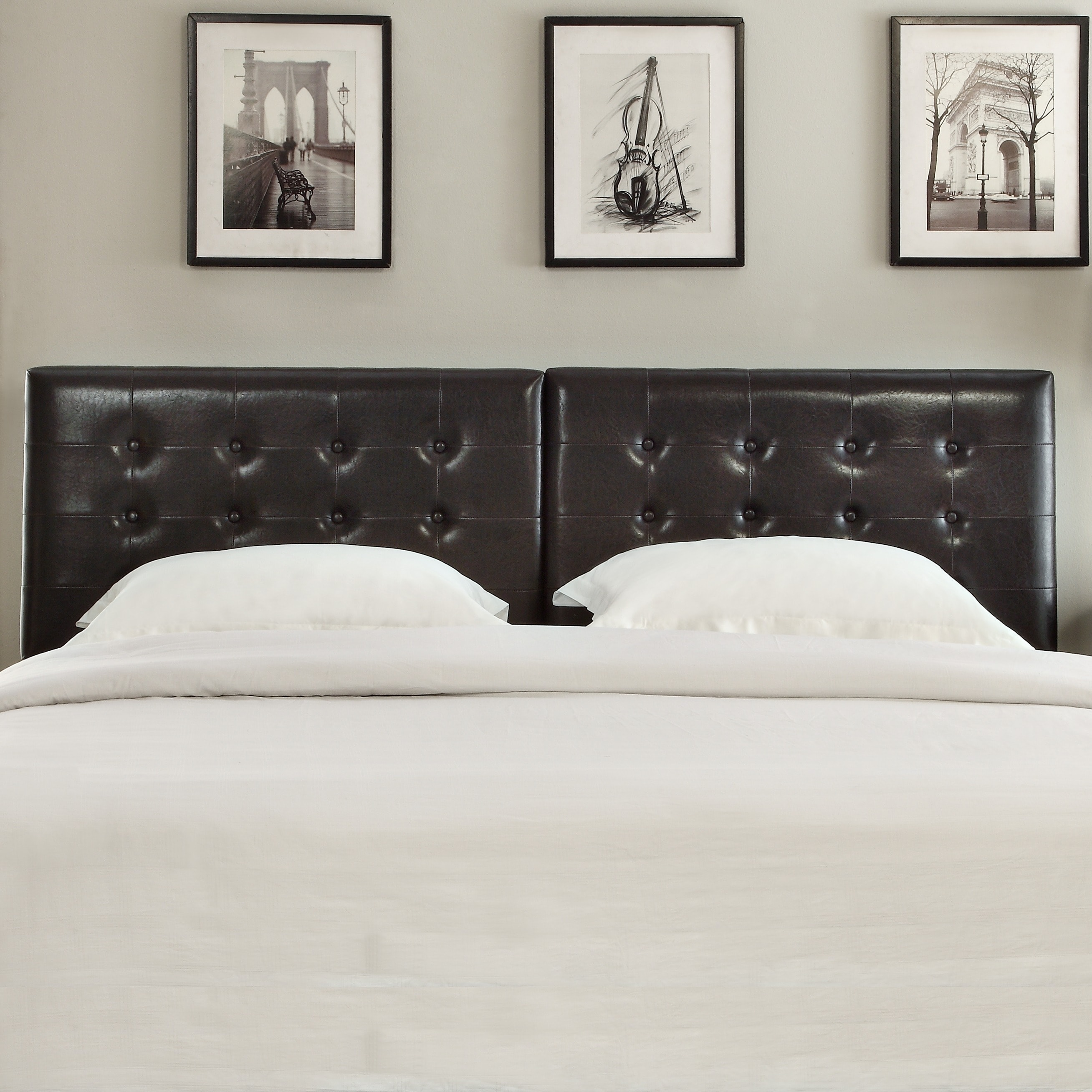 Domusindo Button Tufted King or Cal King Synthetic Leather Upholstery Headboard