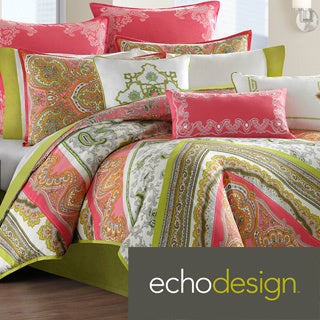 Echo 'Gramercy' Pink/Green Paisley Print Cotton 3-piece Comforter Set
