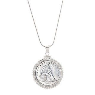 Sterling Silver Twisted Wire Silver Seated Liberty Quarter Pendant Necklace