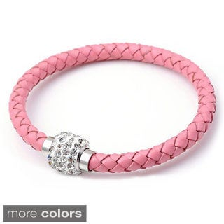 Braided Leather Rhinestones Crystal Clasps Bangle Bracelet